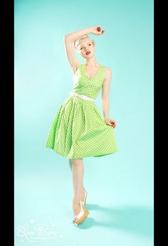 The Kelly Dress in Lime Green Dot from Pinup Couture