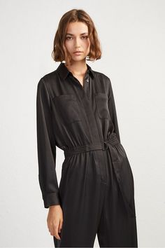 e02496b13f5 Black Long Sleeve Jumpsuits - Swap a dress for a sleek jumpsuit with the  Enid Crepe