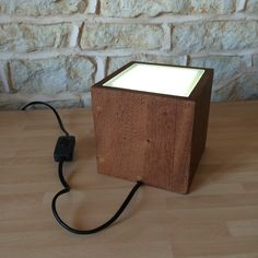 Solid Wood Cube Glass Top Table / Desk / Floor Lamp