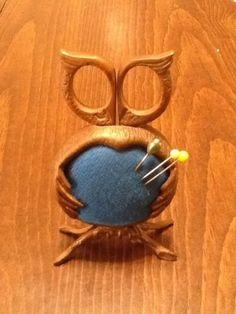 Unique Vintage Owl Pin Cushion & Scissors Figure Set
