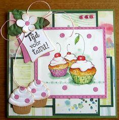 Jacqueline : Tijd voor taart Deze kaart heb ik gemaakt voor ch... Marianne Design Cards, Shaker Cards, High Tea, Advent Calendar, Birthday Cards, Place Card Holders, Crafty, Christmas Ornaments, Holiday Decor