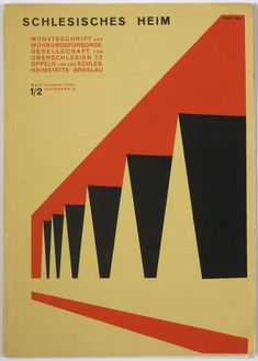 "Herbert Bayer. ""Schlesisches Heim,"" issue 1/2, 8th year. 1927. Letterpress with offset lithographic cover. (21 x 29.8 cm) A great example demonstrating how the movement had a innovative and efficient use of geometric shapes. While simple, it also creates a linear perspective as well makes it three-dimensional. Designs were meant to be eye-catching, interesting, mass produced and rational."