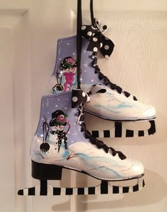 Hand Painted Ice Figure Skates PAIR snowman by paintingbymichele, $95.00