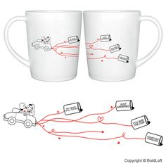"""""""Happily ever after- they've promised each other. With smiles and kisses, they step on the gas and speed off for their future. Eyes shining with love secure in the knowledge their love won't pass!"""" Celebrate lifelong romance with BoldLoft's unique and creative wedding gifts for bride and groom. """"Happily Ever After"""" His & Hers Coffee Mug Set. $27.00 via BoldLoft."""