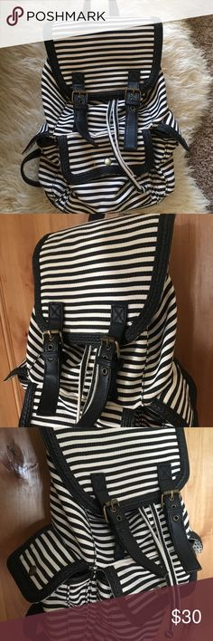 Leather Braided Stripe Bag Purse Backpack Shoulder Excellent Condition Only used a couple times Black braided accent leather trim Black & Ivory stripes A jean sort of material Bags