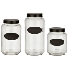 Glass and Chalkboard Kitchen Canisters, Set of 3 (935 DOP) ❤ liked on Polyvore featuring home, kitchen & dining, food storage containers, black chalk board, lidded jars, glass canisters, black glass jar and glass cannisters