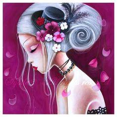 Print Le chapeau fleuri by Sybile on Etsy Daniel Vincent, Art Violet, Print Image, Flower Hats, Art Graphique, Acrylic Painting Canvas, Cute Art, Amazing Art, Amazing Drawings