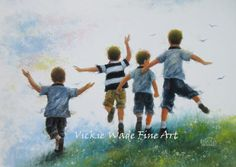 Four Brothers Leaping Art Print boys room by VickieWadeFineArt