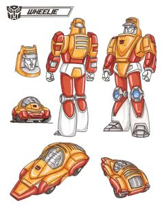 Wheelie is the wild boy of Quintesson- an Autobot-like youth lost when his ship went down, the only survivor of his party, staying alive by cunning and stealth and fearlessness. He speaks in odd, rhyming sentences and despises the Sharkticons and Quintessons, who are his mortal enemies. He is a staunch friend to the Dinobots, who take to him immediately, and a reliable ally in difficulties for Hot Rod and Kup when they take on the Sharkticons. - See this image on Photobucket.
