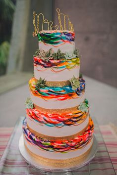 Faux Wedding Cake Made by the Bride Representing the Vibe of the Wedding A Bright & Colorful Mexican Glam Themed Wedding Photographer: Ann Axon Photography Beautiful Wedding Cakes, Gorgeous Cakes, Pretty Cakes, Amazing Cakes, Colourful Wedding Cake, Bright Color Wedding, Cakes To Make, How To Make Cake, Wedding Cake Designs