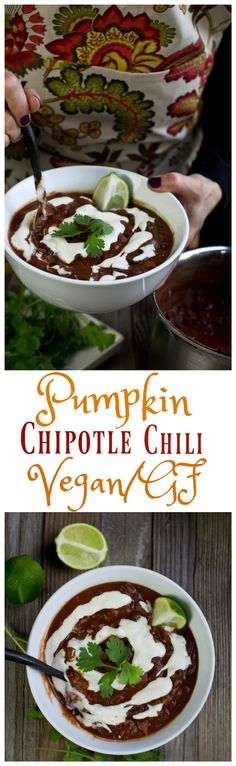 An incredibly hearty chili with seasonal pumpkin for body and creaminess that is accented with spicy, smoky chipotle peppers for a warming, full-on flavored meal. This chili is not only vegan, but it is incredibly easy to make and ready in about 30 minutes.   via @thevegan8