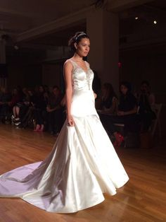 Satin wedding dress with metallic beaded straps #AngeloAccess
