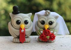 Custom wedding owl cake topper red wedding love by PerlillaPets, $75.00
