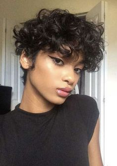 Cute Short Curly Hairstyles, Short Curly Pixie, Curly Hair Styles, Short Curls, Curly Hair Cuts, Black Hairstyles, Cute Short Hair, Easy Hairstyles, School Hairstyles