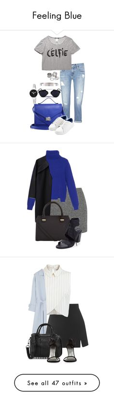 """Feeling Blue"" by hernandezjenni ❤ liked on Polyvore featuring AG Adriano Goldschmied, Wet Seal, Loeffler Randall, MANGO, Una-Home, Pieces, Christian Van Sant, T By Alexander Wang, Proenza Schouler and A Détacher"