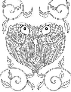 This As A Great Adult Coloring Page Two Cute Little Birds In The Shape Of