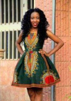 Tracy dashiki dress// African prom dress // African print dress for women African Dashiki Dress, African Prom Dresses, African Dresses For Women, African Attire, African Wear, African Women, African Outfits, African Style, African Inspired Fashion