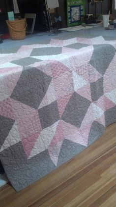 Rock a Bye Baby Pink Princess Throw Size Quilt by TipsyQuilters, $300.00.  Love pink and gray together