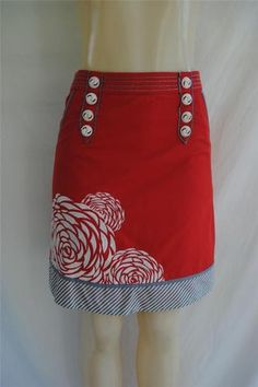 I want to make a skirt like this .........FLOREAT Anthropologie Floral Embroidered Mod Vintage A-Line Skirt