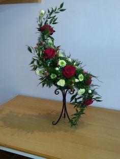 s curve floral arrangement rose lily - Google Search
