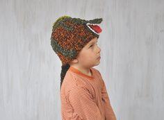 Child Hat Beanie Hat T-Rex Hat Dino Dinosaur Beanie Spring Kid Hat Crochet Hat Animal Hat Brown Dark Green Warm Unique Original For Boy OOAK - pinned by pin4etsy.com