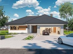 Zdjęcie projektu Padme 3 WZ WOE1119 Bungalow Style House, Cottage Style Homes, Village House Design, Village Houses, Three Bedroom House Plan, Construction Design, Small House Design, Modern House Plans, Home Design Plans
