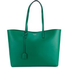 Saint Laurent Leather Shopping Tote ($995) ❤ liked on Polyvore featuring bags, handbags, tote bags, green, man bag, genuine leather tote, green leather purse, leather hand bags and leather man bags