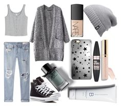 """""""Sans titre #5353"""" by crazymoustik ❤ liked on Polyvore featuring Monki, rag & bone/JEAN, Burberry, Converse, The North Face, Rianna Phillips, Beautycounter, Maybelline and NARS Cosmetics"""