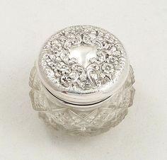 Antique Edwardian Glass  Sterling Silver Vanity Jar 1903