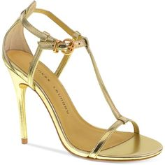 Chinese Laundry Leo T-Strap Dress Sandals ($69) ❤ liked on Polyvore featuring shoes, sandals, heels, gold, dress sandals shoes, gold heel shoes, dress sandals, gold shoes and t strap sandals