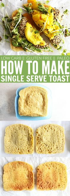 You'll love this recipe for easy Single Serve Toast!! You can make it yourself in under 5 minutes. It's low carb, keto, gluten free, dairy free, and paleo!! Perfect for your morning breakfast for lunchtime sandwich! thetoastedpinenut.com #lowcarb #keto #glutenfree #dairyfree #singleserve #toast #healthy #paleo #howto #diy #homemade #thetoastedpinenut