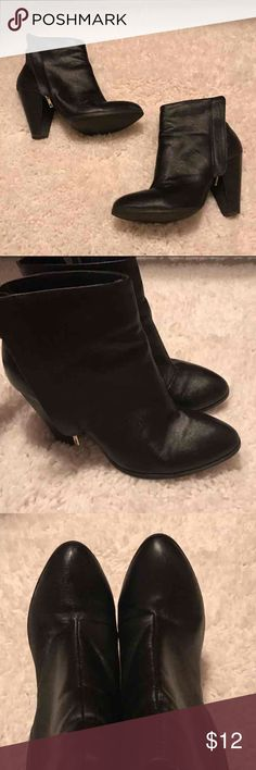Black Leather Heeled Booties Size 9. 2-3 inch chunky heel. Worn once. Charlotte Russe Shoes Ankle Boots & Booties