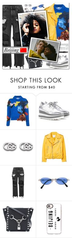 """""""How To Style a Yellow Leather Jacket with an Embellished Sweater, Distressed Jeans, Silver Metallic Sneakers and a Mini Bag for Travel to Beijing this Fall"""" by outfitsfortravel ❤ liked on Polyvore featuring Delpozo, STELLA McCARTNEY, Gucci, MANGO, Alexander Wang, Jean-Paul Gaultier, Casetify and Alyx"""
