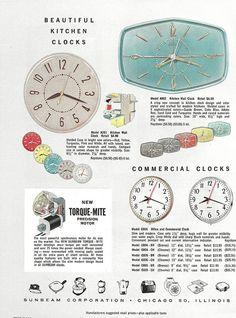 1950s ad for Sunbeam clocks