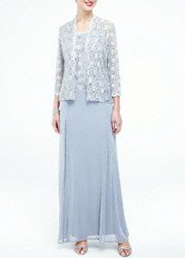 A demure yet stylish look that is ideal for any mother of the bride or groom!  All over hologram sequin 3/4 sleeve jacket and top is eye-catching and chic.  Long soft chiffon skirt with charmeuse waistband is light, airy and comfortable.  Fully lined. Back zip. Imported polyester/nylon/spandex blend.  Hand wash cold gently, or spot clean by professional dry cleaner. Remove rhinestone broach before cleaning.Also available in Plus sizes as Style 3174DW.
