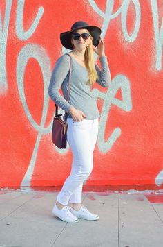 Grey Top + White Jeans & Sneakers | Comfortable Spring Fashion | Luci's Morsels :: LA Denim Blogger