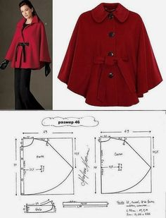Poncho - created on Coat Patterns, Dress Sewing Patterns, Sewing Patterns Free, Clothing Patterns, Fashion Sewing, Diy Fashion, Ideias Fashion, Fashion Outfits, Cape Pattern