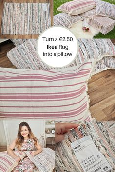 Ikea Rug Hack, turn the Tanum rug into a pillow - Dainty Dress Diaries