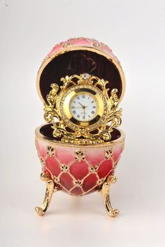 Red Faberge Egg with Gold Clock Inside