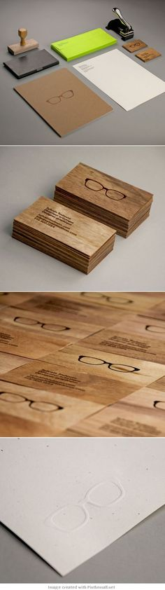Self promotion idea. Notice on the bottom slide, the letterpress impression of the glasses? You could get a die made of your logo or you could use your company seal - to put an imprint on everything you send out. Nice subtle way of branding.: