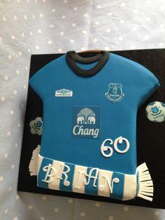 Everton Football shirt Cake with Printed edible logo's and handmade scarf