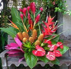 Tropical-themed vase flower arrangement with red & yellow heliconias, red ginger flowers, red heliconias, red anthuriums and beehive flowers. Click image to enlarge.