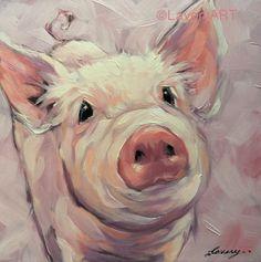 Pig painting, original impressionistic oil painting of a sweet little… Animal Paintings, Animal Drawings, Art Drawings, Pig Illustration, Pig Art, Expo, Whimsical Art, Painting & Drawing, Pig Drawing