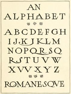 """Modern roman alphabet. From the public domain ebook, """"Lettering"""" published in 1916. Download in epub, kindle or pdf format here: https://archive.org/details/lettering00stev"""