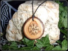 Vegvisir Pendant Necklace in Scots Pine wood Gift Icelandic Wooden Magical Protection - New Moon Enterprise  - 1