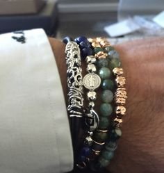 bracciali luxury uomo damasco e my Saint argento e pelle made in Tuscany Italy designed Alessandro Magrino