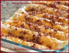 Bacon Breakfast Enchiladas Recipe This zesty breakfast casserole can be prepared ahead of time and refrigerated, making it perfect for a brunch or holiday breakfast! What's For Breakfast, Breakfast Items, Breakfast Dishes, Breakfast Recipes, Sausage Breakfast, Bacon Breakfast Casserole, Breakfast Wraps, Good Breakfast Ideas, Breakfast Lasagna