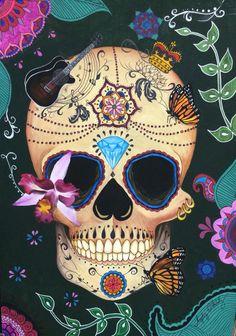 Caveira mexicana, com borboletas e orquídea. Em aquarela.