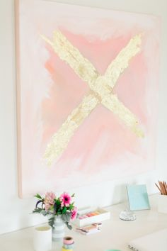 X Marks the Spot >> DIY Abstract Pink and Gold Foil X Painting