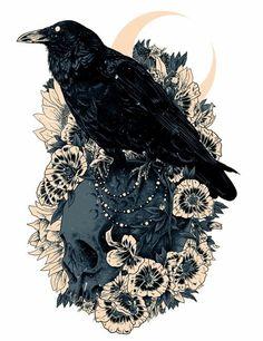 Ideas For Bird Skull Drawing Illustration Tattoo Ideas 16 Tattoo, Tattoo Bein, Raven Tattoo, Tattoo Quotes, Tattoo Tree, Death Tattoo, Witch Tattoo, Illustration Tattoo, Illustration Manga